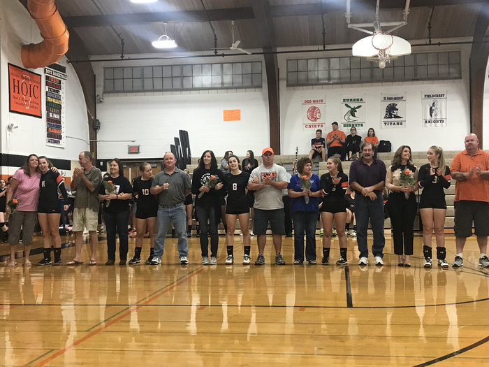Senior volleyball players & golfers with their parents