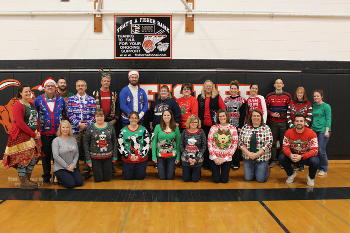 Merry Christmas from Fisher Jr/Sr High School Staff who sported their Ugly Christmas Attire!