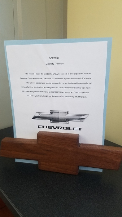 Handmade walnut Chevy sign